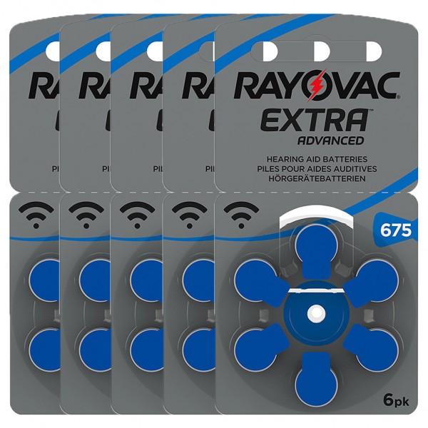 30 x RAYOVAC EXTRA Hörgerätebatterie Zink - Luft Typ 675 1.45V 5 x 6er Blister