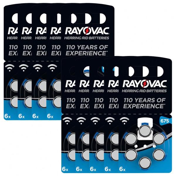 60 x RAYOVAC Hörgerätebatterie Zink - Luft Typ 675 1.45V 10 x 6er Blister