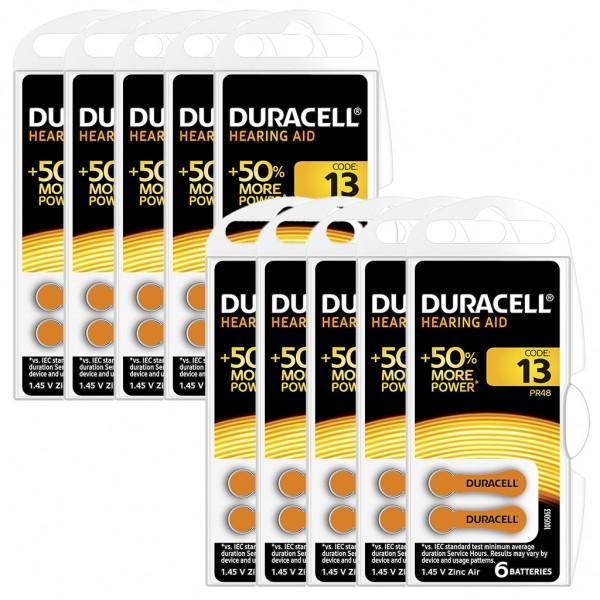 60 x Duracell Hörgerätebatterie Zink - Luft Typ 13 1.4V 10 x 6er Blister