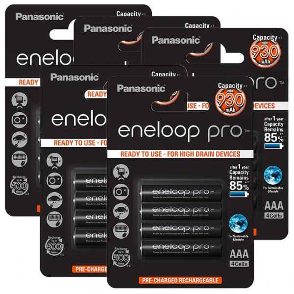 Panasonic eneloop PRO 20er Akku Pack AAA BK-4HCDE inkl. Akkubox