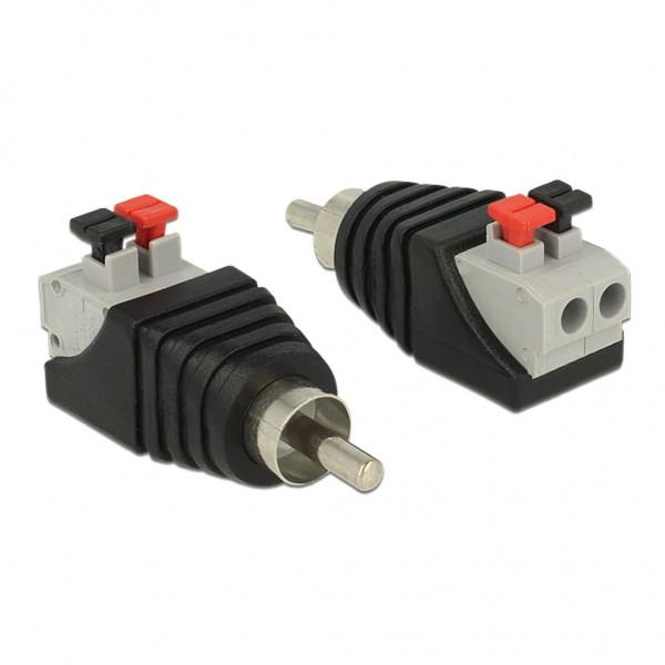 Delock Adapter Cinchstecker Terminalblock mit Drucktasten 2 Pin