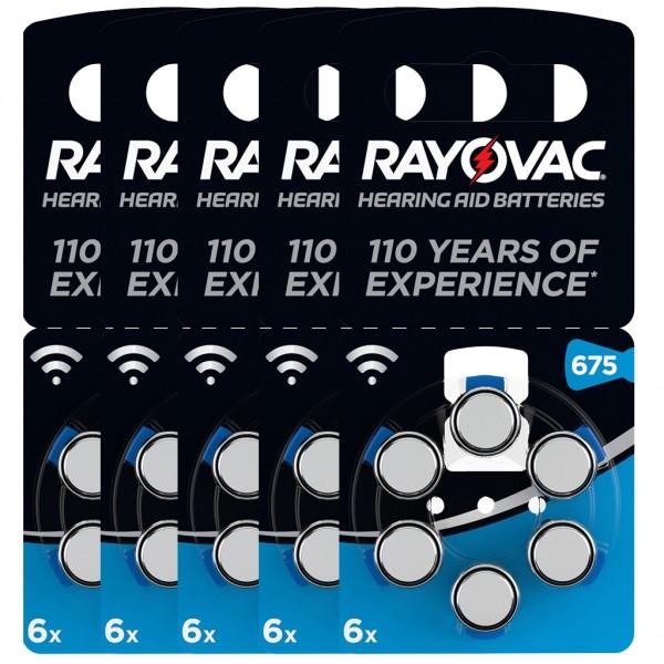 30 x RAYOVAC Hörgerätebatterie Zink - Luft Typ 675 1.45V 5 x 6er Blister