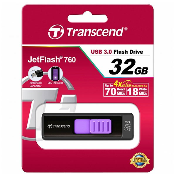 Transcend JetFlash 760 32 GB Super Speed USB 3.0 Stick TS32GJF760 Schwarz/Lila