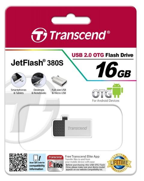 Transcend JetFlash 380 OTG 16GB micro USB + USB 2.0 silver TS16GJF380S