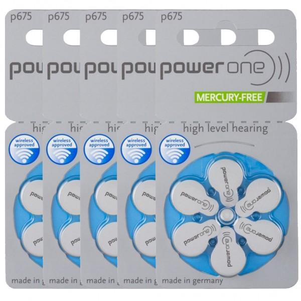 30 x Power One Hörgerätebatterie Zink - Luft Typ 675 1.45V 5 x 6er Blister