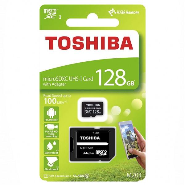 Toshiba microSDXC Class 10 128 GB Exceria M203 R100 + Adapter