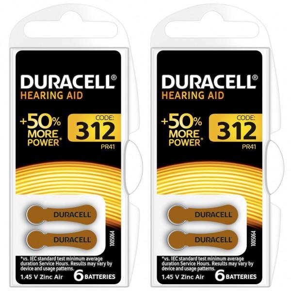 12 x Duracell Hörgerätebatterie Zink - Luft Typ 312 1.4V 2 x 6er Blister