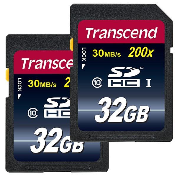 Doppelpack Transcend SDHC 32 GB Class 10 Speicherkarte TS32GSDHC10
