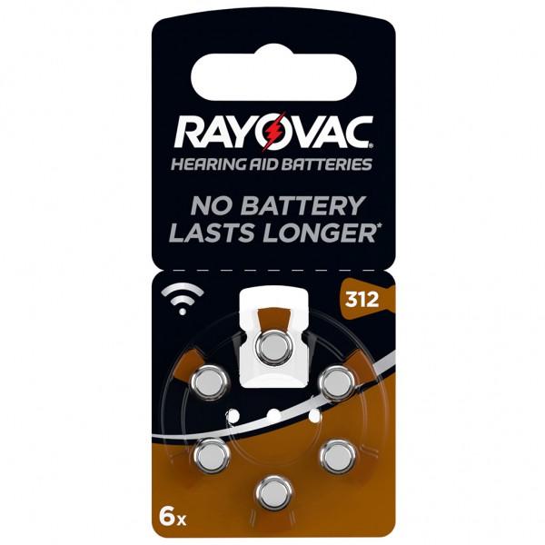 6 x RAYOVAC Hörgerätebatterie Zink - Luft Typ 312 1.45V 1 x 6er Blister