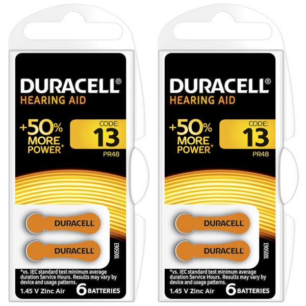 12 x Duracell Hörgerätebatterie Zink - Luft Typ 13 1.4V 2 x 6er Blister