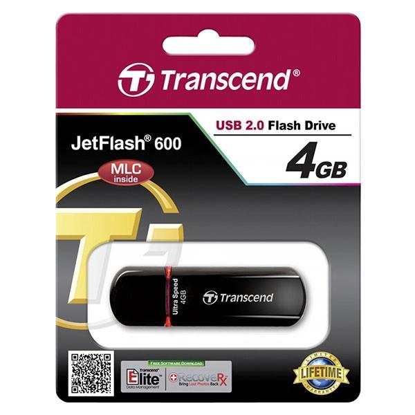 Transcend JetFlash 600 4 GB Ultra Speed USB 2.0 Stick TS4GJF600