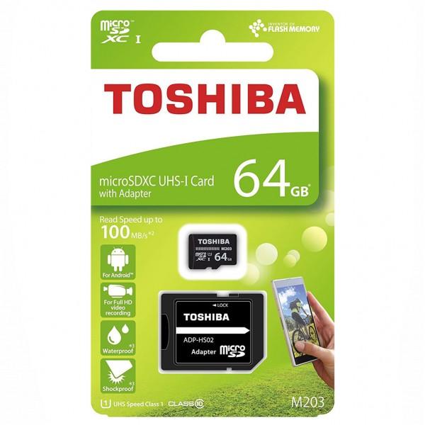 Toshiba microSDXC Class 10 64 GB M203 R100 + Adapter