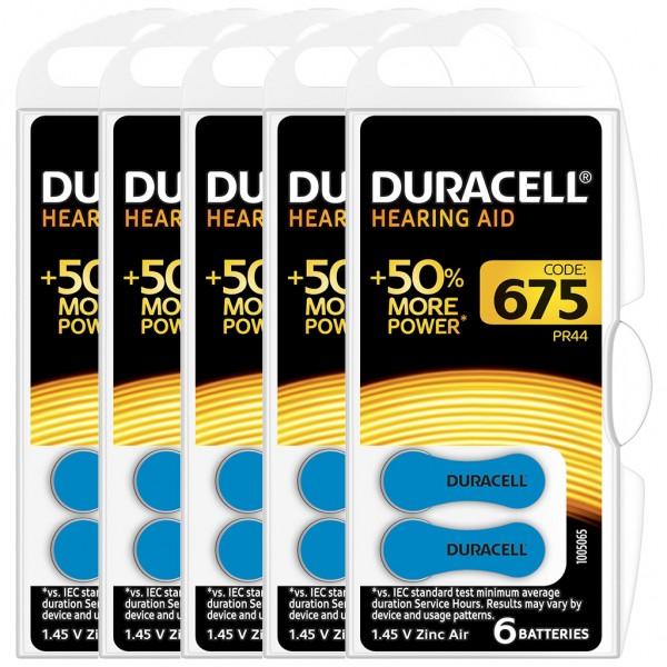 30 x Duracell Hörgerätebatterie Zink - Luft Typ 675 1.4V 5 x 6er Blister