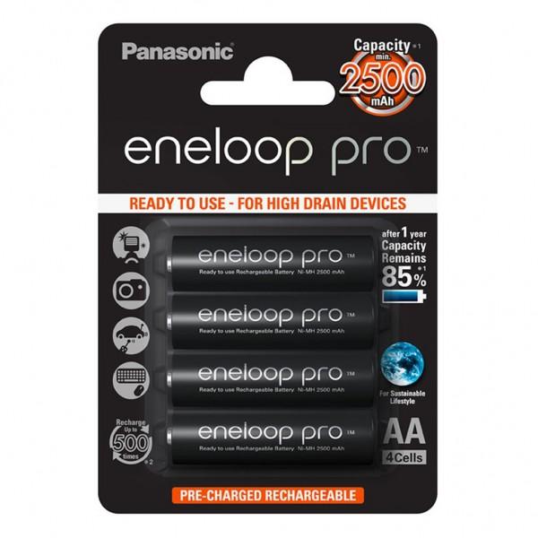 Panasonic eneloop PRO 4er Akku Set AA BK-3HCDE Blister