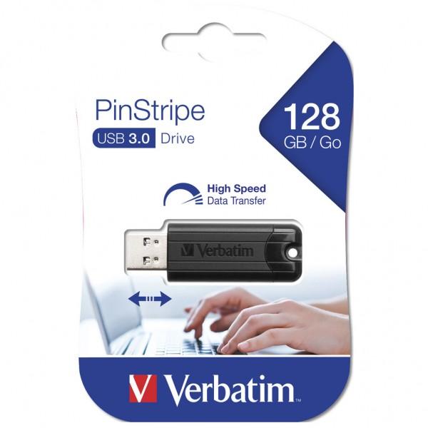 Verbatim Store n Go 128 GB Pinstripe USB 3.0 Stick black 49319