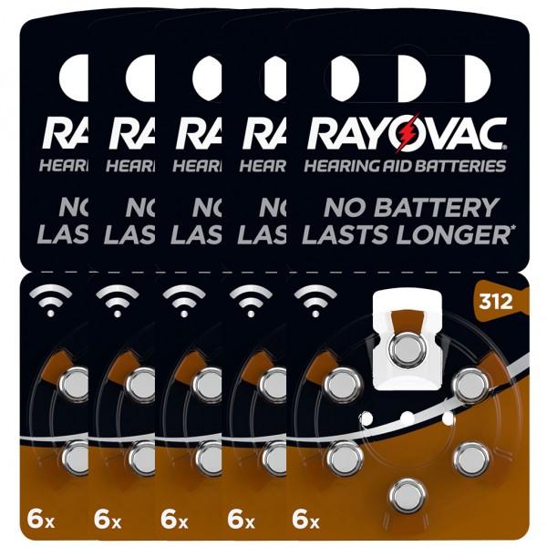 30 x RAYOVAC Hörgerätebatterie Zink - Luft Typ 312 1.45V 5 x 6er Blister