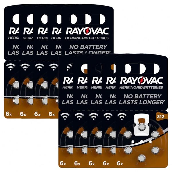 60 x RAYOVAC Hörgerätebatterie Zink - Luft Typ 312 1.45V 10 x 6er Blister