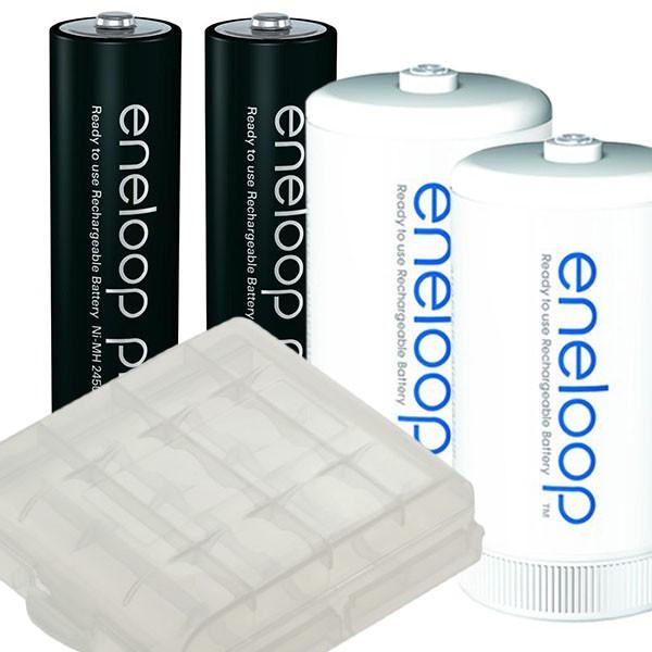 2er Panasonic Eneloop PRO AA Akkus + 2er eneloop Adapter auf Mono D und Boxen