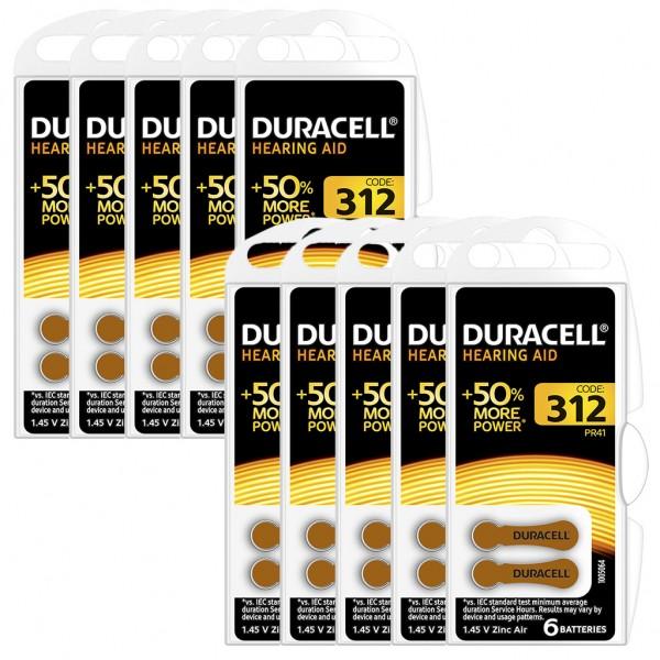 60 x Duracell Hörgerätebatterie Zink - Luft Typ 312 1.4V 10 x 6er Blister