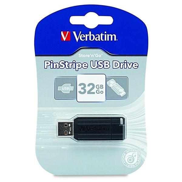 Verbatim USB 32 GB Store 'n' Go Pin Stripe SCHWARZ
