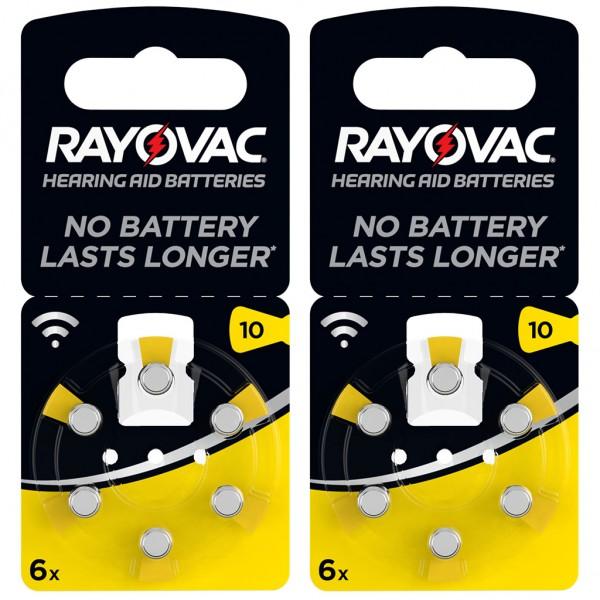 12 x RAYOVAC Hörgerätebatterie Zink - Luft Typ 10 1.45V 2 x 6er Blister