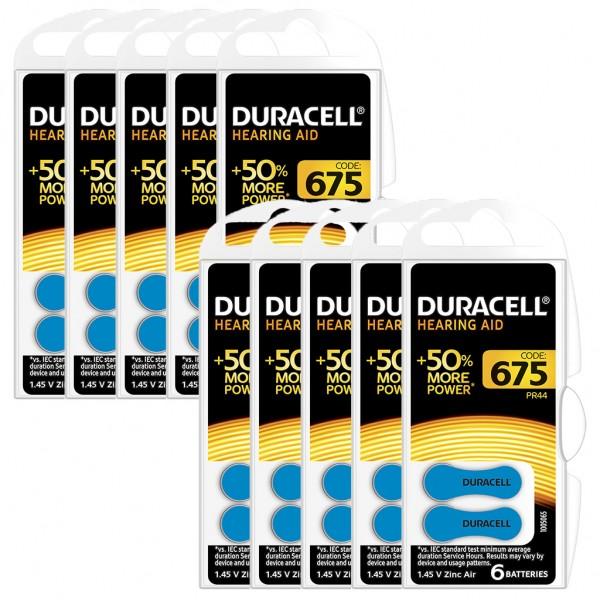 60 x Duracell Hörgerätebatterie Zink - Luft Typ 675 1.4V 10 x 6er Blister