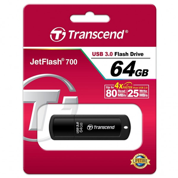 Transcend JetFlash 700 64 GB Super Speed USB 3.0 Stick TS64GJF700