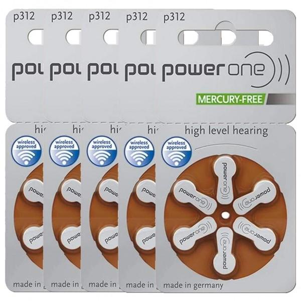 30 x Power One Hörgerätebatterie Zink - Luft Typ 312 1.45V 5 x 6er Blister