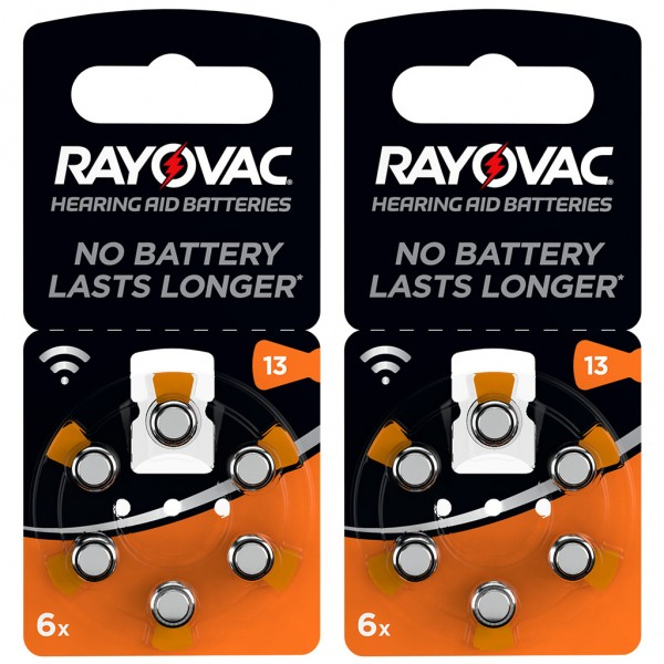 12 x RAYOVAC Hörgerätebatterie Zink - Luft Typ 13 1.45V 2 x 6er Blister