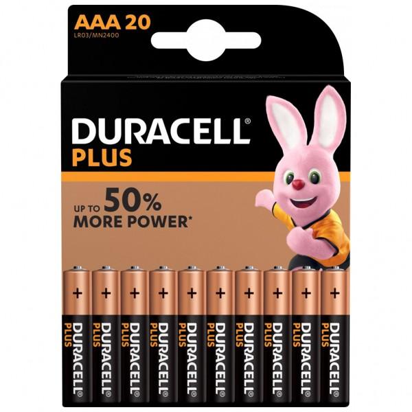 DURACELL AAA Plus Power Batterie Alkaline Mignon LR03 1.5V 20er Blister