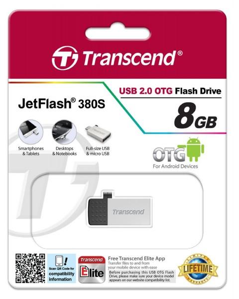 Transcend JetFlash 380 OTG 8GB micro USB + USB 2.0 silver TS8GJF380S