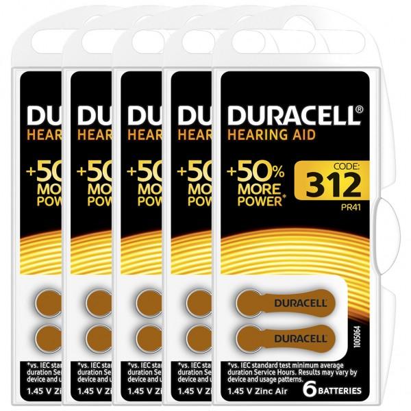 30 x Duracell Hörgerätebatterie Zink - Luft Typ 312 1.4V 5 x 6er Blister