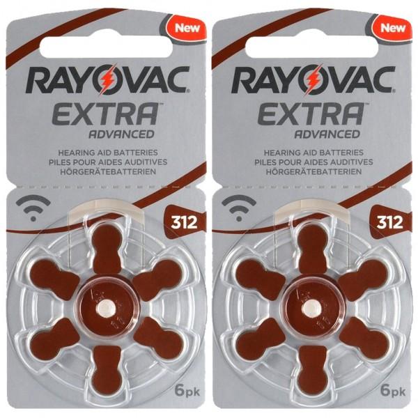 12 x RAYOVAC EXTRA Hörgerätebatterie Zink - Luft Typ 312 1.45V 2 x 6er Blister