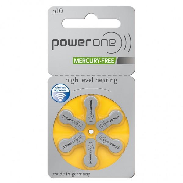 6 x Power One Hörgerätebatterie Zink - Luft Typ 10 1.45V 1 x 6er Blister