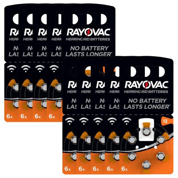 60 x RAYOVAC Hörgerätebatterie Zink - Luft Typ 13 1.45V 10 x 6er Blister