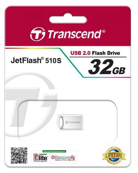 Transcend JetFlash 510 32GB silver plating USB 2.0 Stick TS32GJF510S
