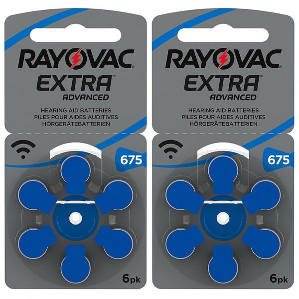 12 x RAYOVAC EXTRA Hörgerätebatterie Zink - Luft Typ 675 1.45V 2 x 6er Blister