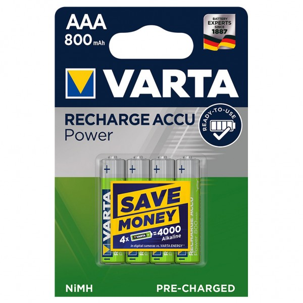 VARTA 800 mAh Akku Micro AAA Ready 2 Use HR03 NiMH 56703 4er Blister R2U