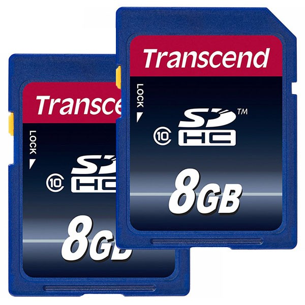 Doppelpack Transcend SDHC 8 GB Class 10 Speicherkarte TS8GSDHC10
