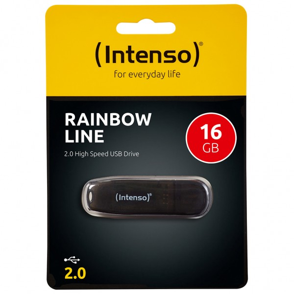 RETAIL Intenso Rainbow Line USB Stick 16 GB schwarz