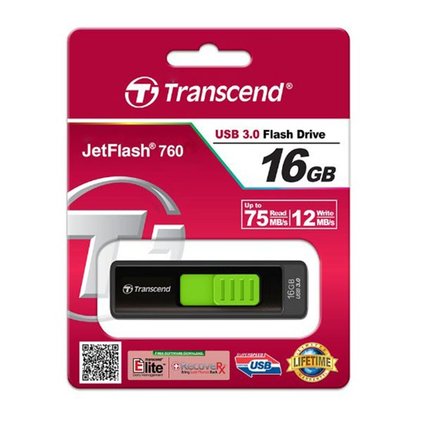 Transcend JetFlash 760 16 GB Super Speed USB 3.0 Stick TS16GJF760 Schwarz/Grün