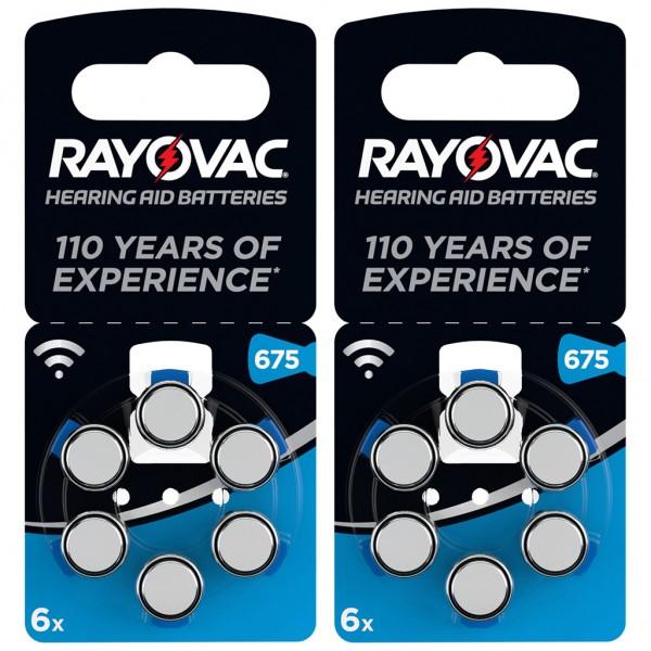 12 x RAYOVAC Hörgerätebatterie Zink - Luft Typ 675 1.45V 2 x 6er Blister