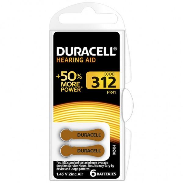 6 x Duracell Hörgerätebatterie Zink - Luft Typ 312 1.4V 1 x 6er Blister