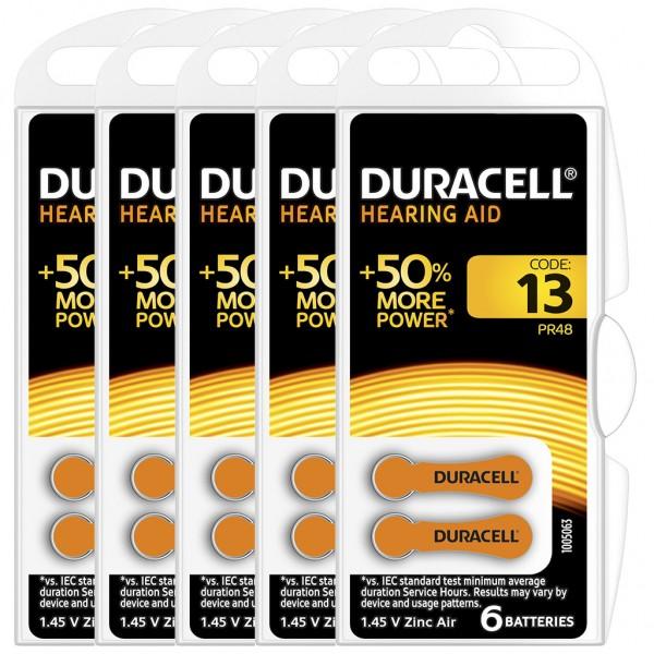 30 x Duracell Hörgerätebatterie Zink - Luft Typ 13 1.4V 5 x 6er Blister