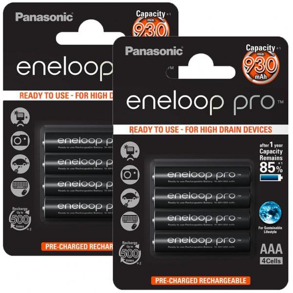 Panasonic eneloop PRO 8er Akku Pack AAA BK-4HCDE Blister