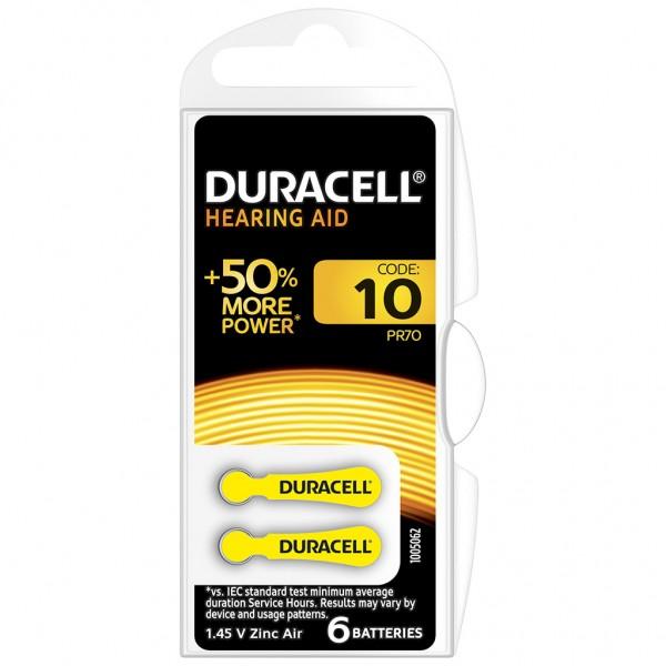 6 x Duracell Hörgerätebatterie Zink - Luft Typ 10 1.4V 1 x 6er Blister