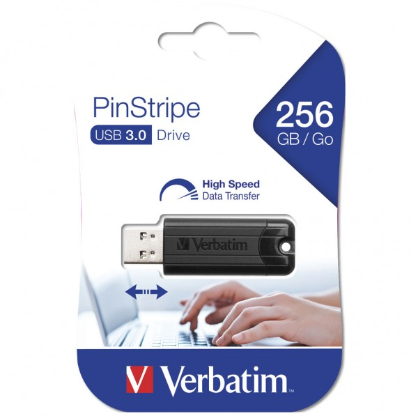 Verbatim Store n Go 256 GB Pinstripe USB 3.0 Stick black 49320