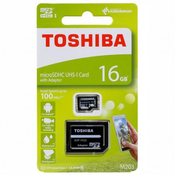 Toshiba microSDHC Class 10 16 GB Exceria M203 R100 + Adapter
