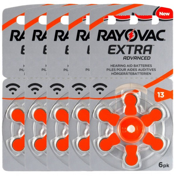 30 x RAYOVAC EXTRA Hörgerätebatterie Zink - Luft Typ 13 1.45V 5 x 6er Blister