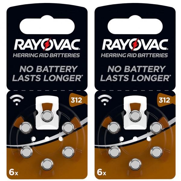 12 x RAYOVAC Hörgerätebatterie Zink - Luft Typ 312 1.45V 2 x 6er Blister